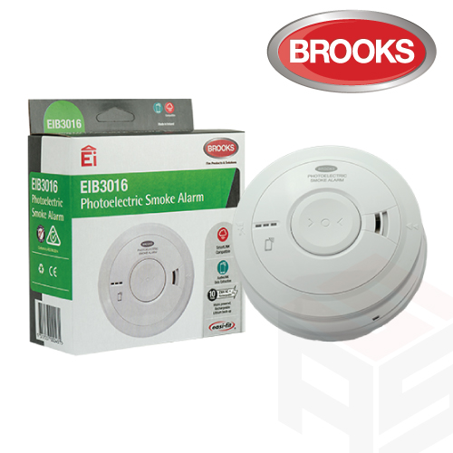 Brooks Photoelectric 230-volt Smoke Alarm with 10-year Lithium battery EIB3016